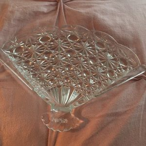 😍Gorgeous crystal fan dish WOW! 1970's antique